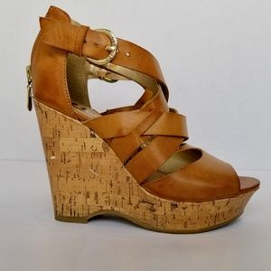 G By Guess Wedge Cork Brown Sandals